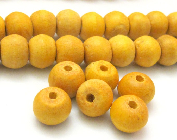 10 Beads - Natural wood Beads from Burma - 12  mm size  - NB117