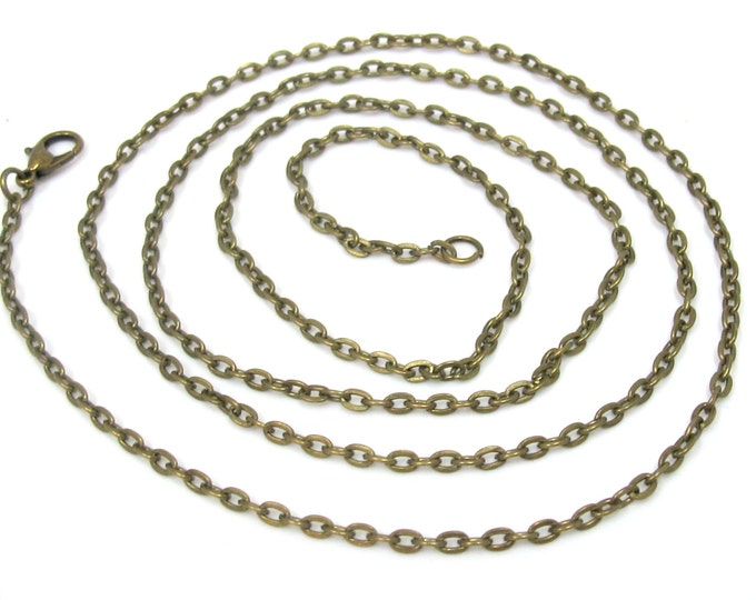 1 chain - Antiqued brass tone plated long necklace chain for jewelry making 31.5 inches - BD757