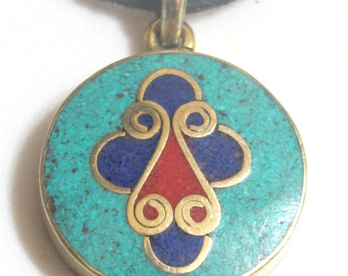 Tibetan round shape  cross design brass pendant with lapis , turquoise and  coral inlay - PM177