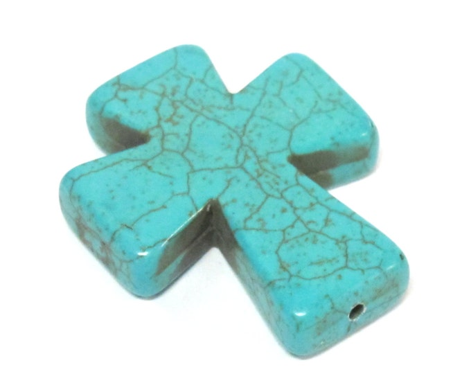 1 Bead - Blue color howlite cross bead 36 mm x 30 mm - GM417
