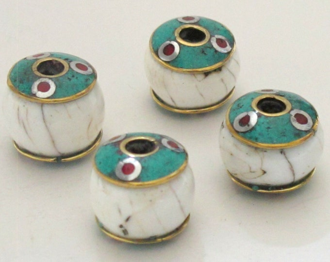 Thick ethnic naga conch shell bead  with brass turquoise coral inlay - 1 bead - CH038B