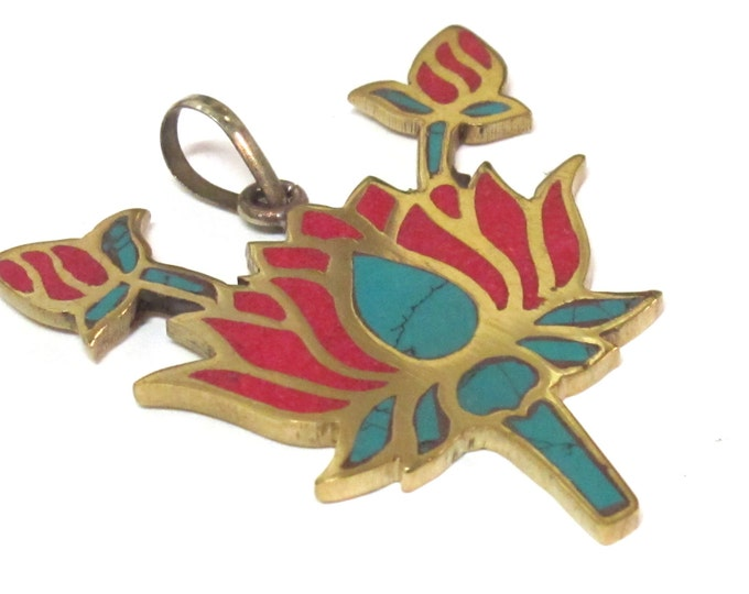 Tibetan Lotus flower brass pendant with turquoise coral inlay - nepalbeadshop jewelry making supply  PM091B