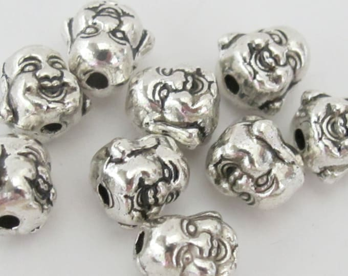 10 BEADS - Reversible silver tone plated Happy Buddha beads - BD539