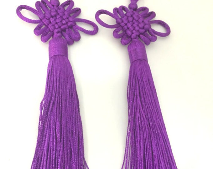 1 Piece  - Long tassel Purple eggplant color chinese infinity knot tassel charm supplies - 8.5 inches long - BD862