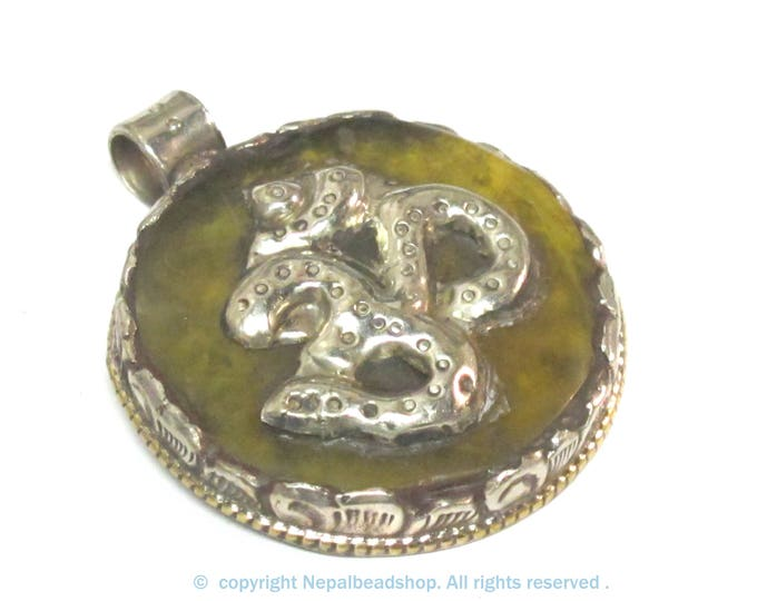 1 Pendant - Tibetan honey copal resin Om mantra pendant with reverse side Lotus flower design  filigree - PM292K