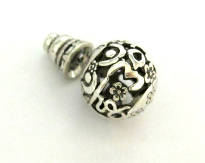 1 bead set - Tibetan silver 2 hole round Om mantra  Guru bead 14 mm size with cone shape column bead - BD600D