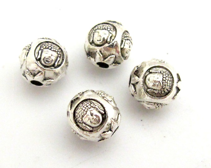 4 BEADS - Round Cube shape silver tone plated Buddha face beads 10 mm - BD747