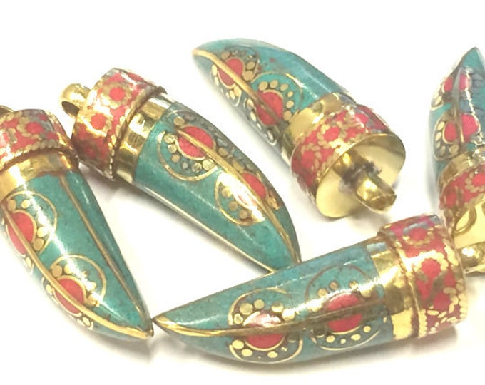 1 Pendant - Tibetan pendants nepal horn shape pendant Tibetan tusk brass pendant with turquoise coral inlay dotted sun design - PM405K