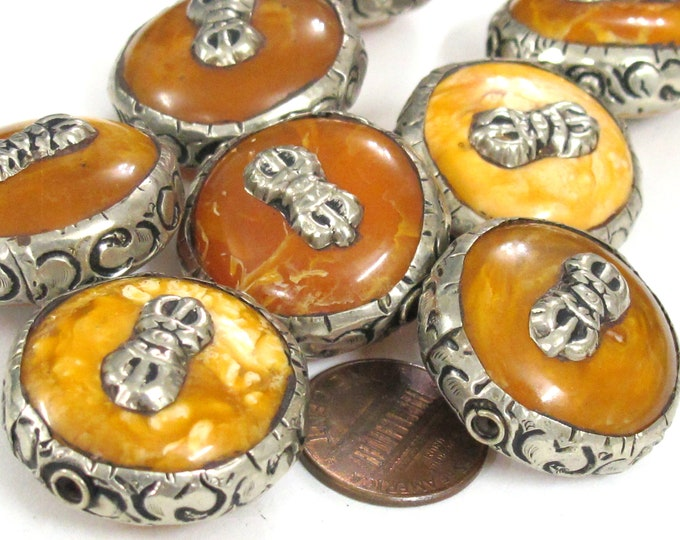10 Beads - Wholesale bulk lot reversible Large size Tibetan copal resin dorje vajra symbol  beads  - BD524Bw-lot