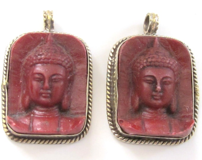 2 Pendants - Tibetan red color Buddha face pendant from Nepal - PS001B copyright Nepalbeadshop