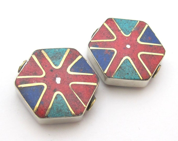 1 BEADS - Hexagonal wheel chakra design Tibetan turquoise coral inlaid brass beads from Nepal - BD481A