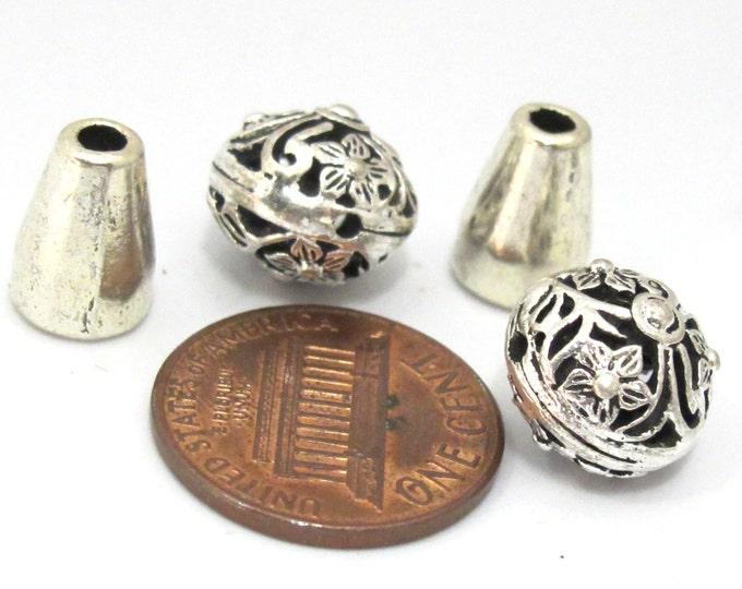 2 sets - Guru beads- Tibetan silver 3 hole oval shape floral design Guru bead with column bead - GB039s