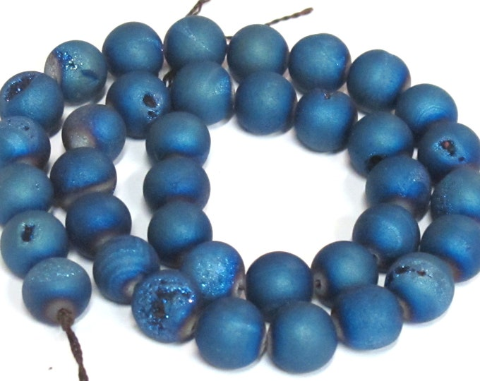 1 strand - 35 beads - 10 mm size - Beautiful Metallic blue color druzy agate beads  - GM344K