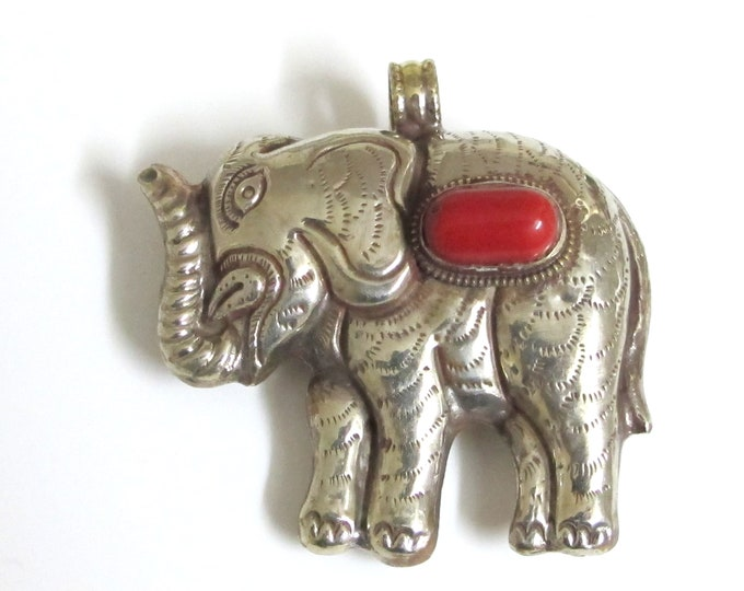Ethnic Tibetan silver finish Large Size  Elephant pendant with coral inlay - PM354A
