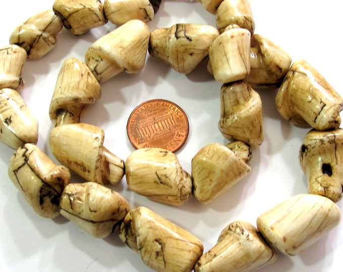 Ethnic naga natural conch shell beads old shell beads curved twisted irregular shape Tibetan beads tribal beads nepalbeadshop - STR008