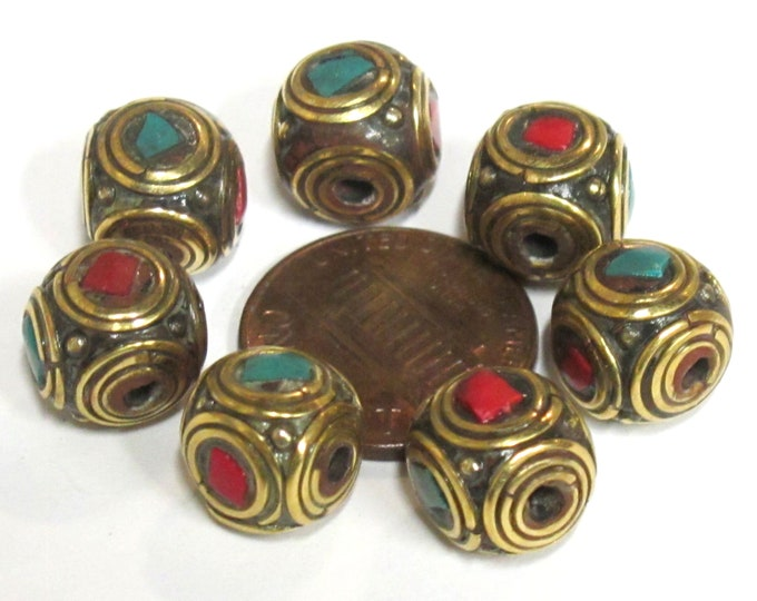 4 Beads - Ethnic Nepal brass beads with turquoise coral inlay cuboid shape - BD981s
