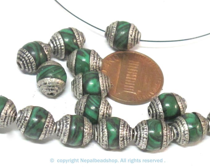 10 Beads - Tibetan silver tone capped  green synthetic malachite gemstone beads from Nepal 8-9 mm thick x 9 -11 mm long - BD976Ax