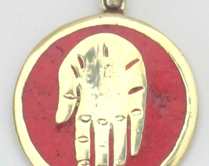 Buddha hand brass pendant with coral  inlay from Nepal - PM186B