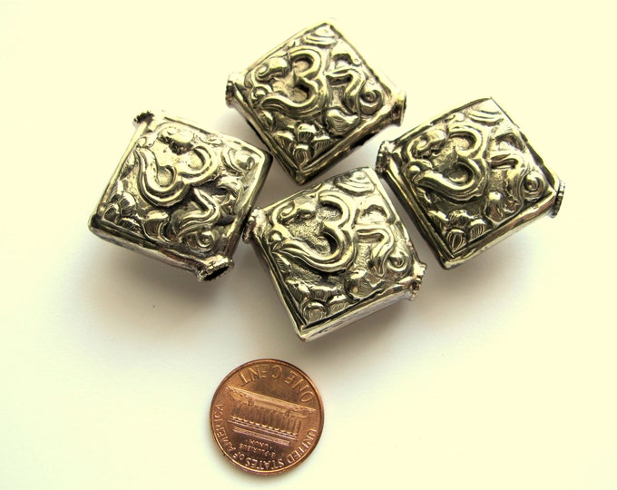 1 Bead - Tibetan OM bead tibetan silver beads om ohm mantra beads nepal beads antiqued silver finish square kite shape nepalbeadshop  BD094
