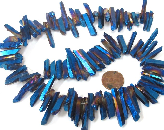 1 full strand 15.5 inches - Electrifying mystic blue titanium quartz points needle stick shape beads - GM436