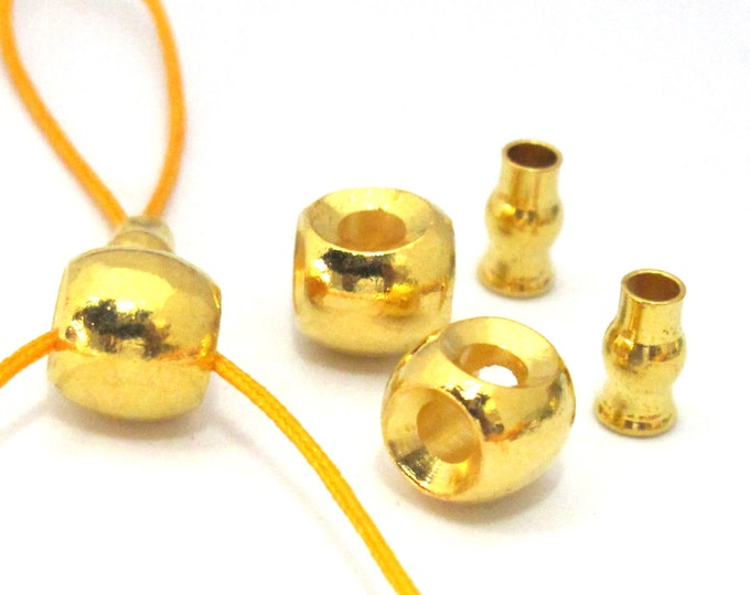 3 SETS -  3 hole Guru Bead gold tone plated with column bead - GB040s