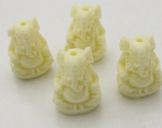 2 BEADS -  Ivory creamish white color resin seated Ganesha pendant beads 20 mm x 15 mm - BD784W