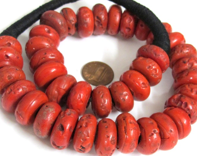 1 Full strand Ethnic Nepal beads Tibetan beads sherpa beads sherpa glass beads  Red Nepalese sherpa beads donut disc tire shape beads -BT007