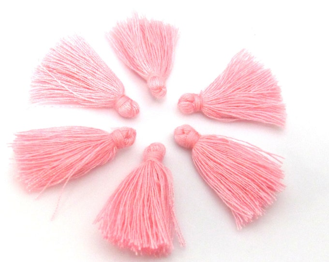 4 Pieces  - Small mini size pink color silky tassel charms tassle fringe mala supply 1 inch - TS014