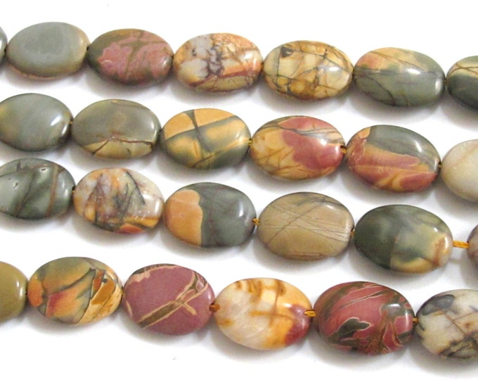 Picasso Colorful Jasper nature art oval shape beads -10 beads - GM221