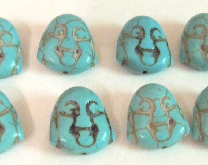 Turquoise howlite happy Buddha face focal pendant beads 20 mm size - 8 beads - BD401