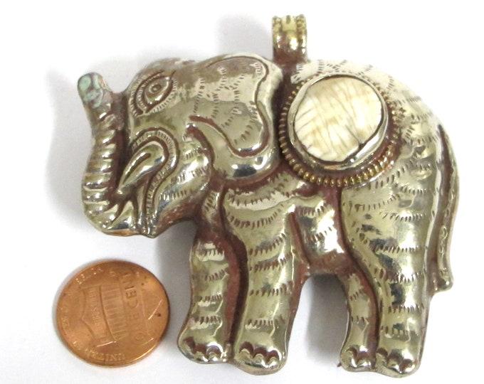 Elephant pendant large big bold size Ethnic Tibetan silver finish reversible Elephant animal pendant with shell inlay - PM354G