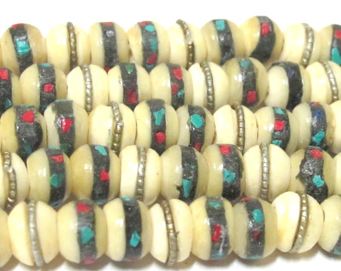 75 beads - 8 mm Tibetan white color bone mala turquoise brass coral inlay beads - ML070E