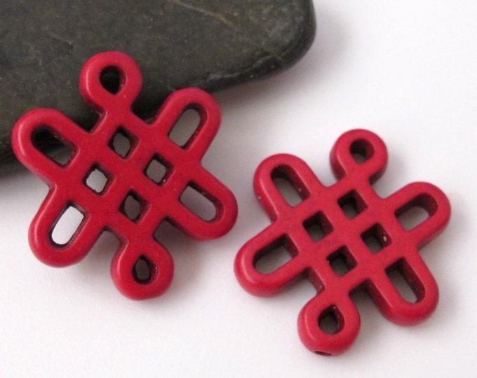 2 beads - Tibetan knot symbol magnesite beads - Red color - GM156