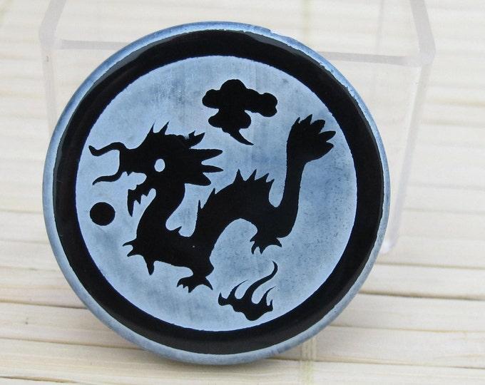 Tibetan dragon etched black onyx  disc bead - BD162