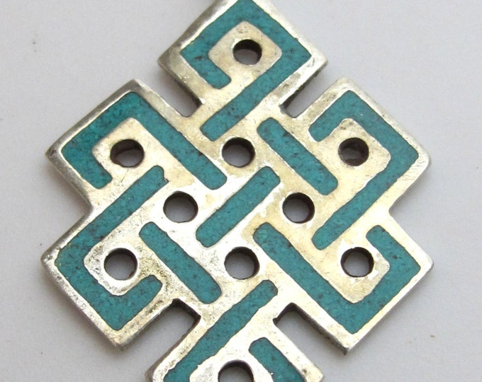 Tibetan Turquoise Inlaid endless infinity knot symbol pendant from Nepal - CP020A