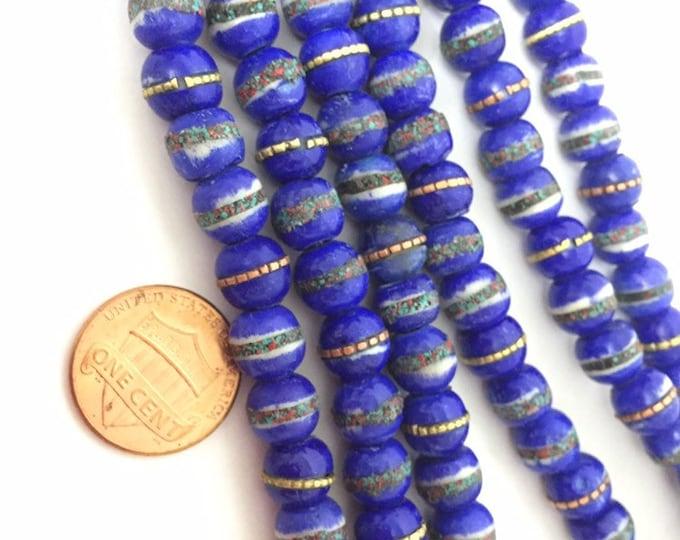 10 beads - Tibetan bone beads inlaid bone beads - 8 mm Tibetan blue color bone beads turquoise brass coral inlay beads  - nepal beads ML125B