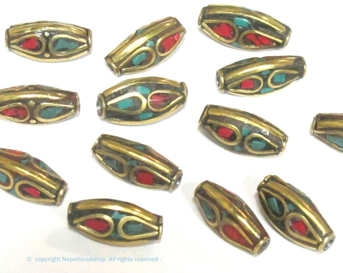 4 Beads -  Bicone brass beads from Nepal with turquoise coral inlay - BD979