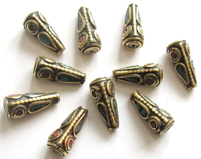 10 Beads - Tibetan beads - Nepal beads - tibet bead cone shape brass beads turquoise coral inlay - nepal beads shop - BD477