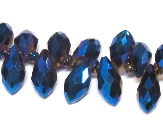 10 glass beads - Faceted teardrop shape titanium blue color shiny crystal glass beads - AB066