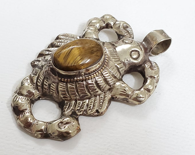 Large antiqued Tibetan silver finish Scorpio pendant with tiger eye gemstone inlaid reverse side frog carving- PM015E