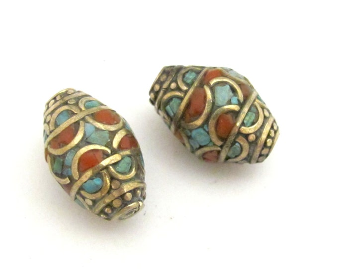 2 beads - Large thick Bicone shape nepal beads with turquoise coral inlay  - BD731
