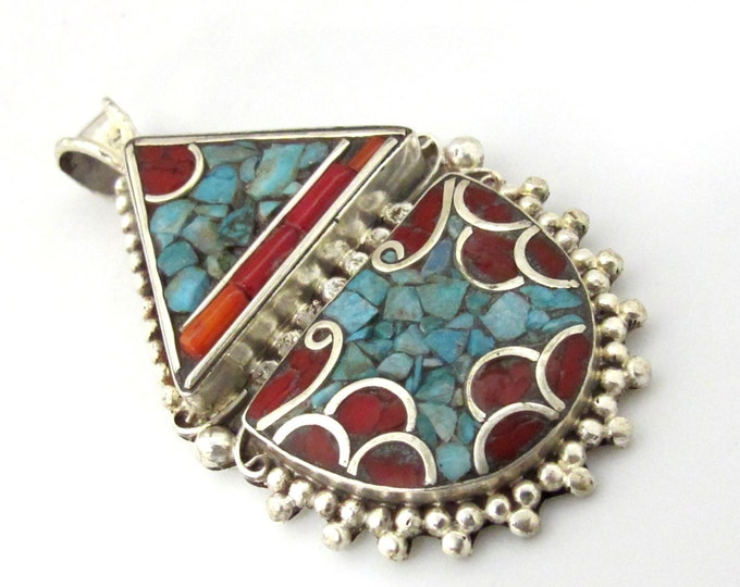Tibetan silver pendant inlaid with turquoise and coral - ethnic nepal pendant Tibetan pendant PM079A