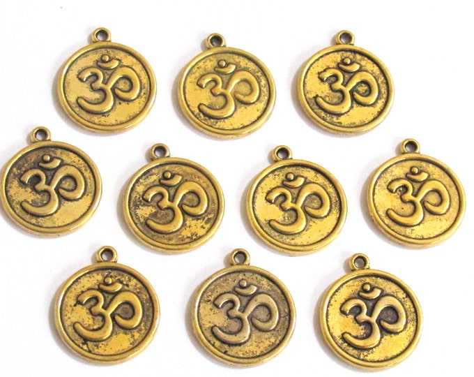 8 pieces - Antiqued gold tone yoga meditation om metal disc charms beads  - BD329A