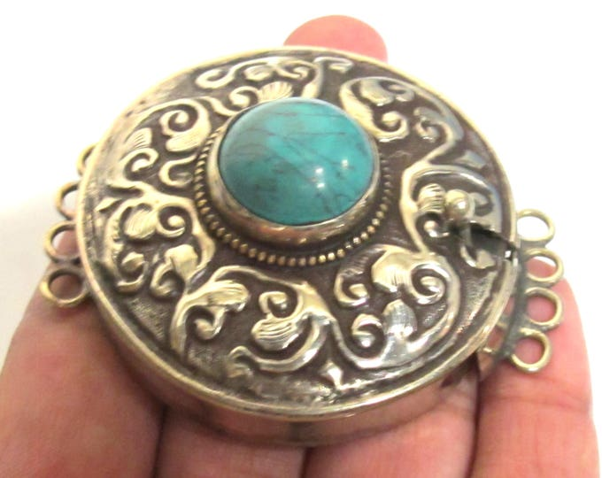 1 clasp - Large ethnic Tibetan silver turquoise gemstone inlaid statement clasp pendant  from Nepal - LN032