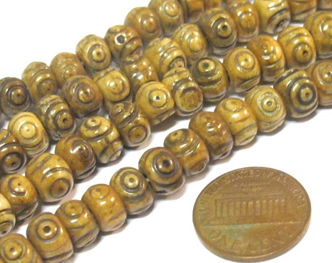 50 beads - Tibetan carved circles dotted brown color  upcylced cattle bone beads 8 mm size - ML118B