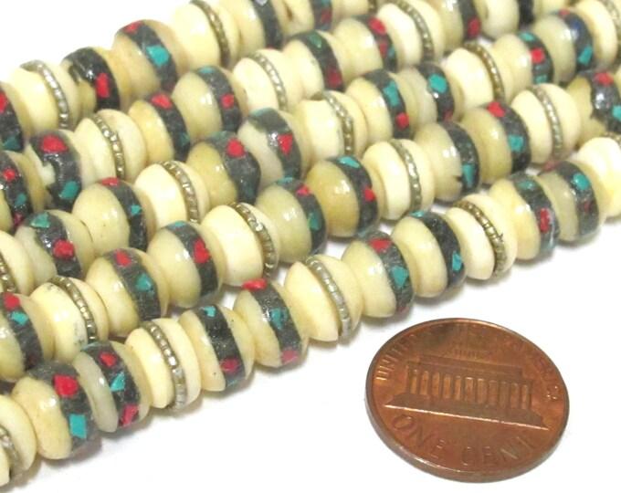 10 beads - 8 mm Tibetan ivory white color bone mala turquoise brass coral inlay beads - ML070B