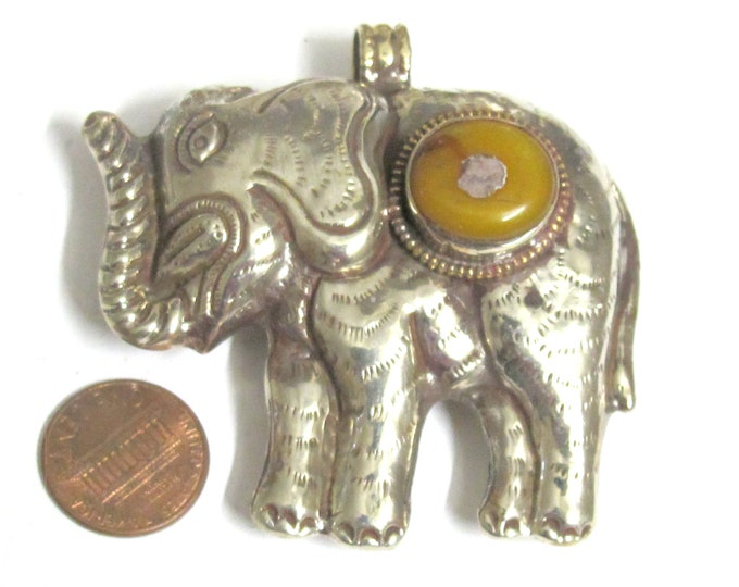 Elephant jewelry pendant Tibetan pendant Large big bold size Tibetan silver Elephant pendant with copal resin inlaid - PM150PB