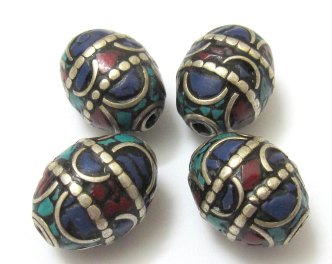 1 BEAD - Large 20 mm x 16 mm size Oval shape Tibetan brass beads with turquoise coral and lapis inlay - BD629