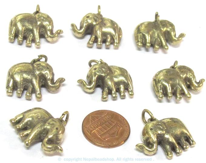 8 Pendants - Small size ethnic Tibetan solid brass elephant pendant from Nepal  wholesale bulk lot - CP132s