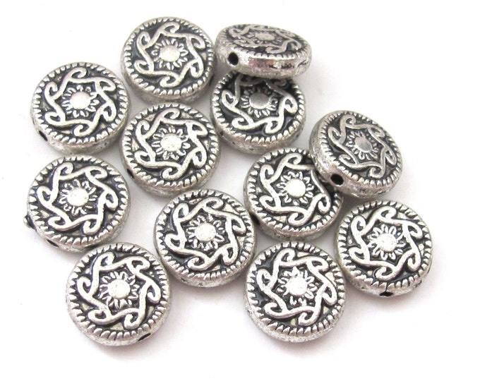 Round disc shape silver finish dual sided sun rays design metal beads - 4 beads - BD557